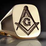 Gold Cushion Signet Ring Compass & Square