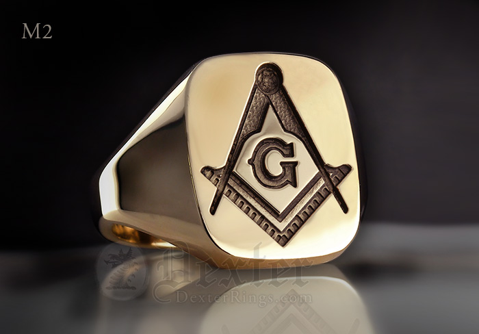 Gold Cushion Signet Ring Compass & Square (M2 Traditional Show Engraving)