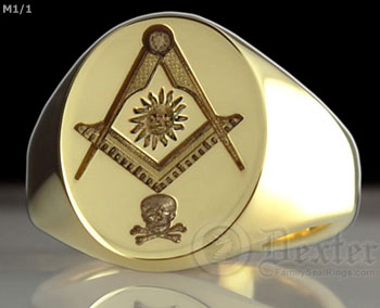 Skull and Sun Compass & Square Signet Ring