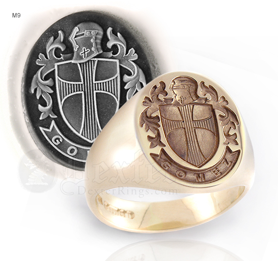 Crusader Design - Oval Gold Signet Ring