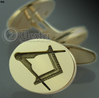 Swivel / Post Cufflinks Engraved With Compass & Square