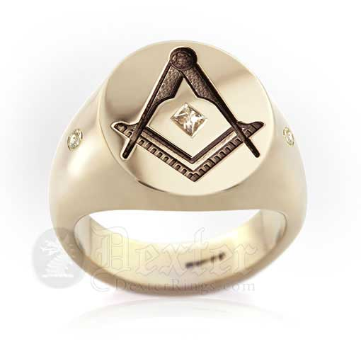 Masonic Signet Ring with Diamonds - Life Loyal Tau Escher