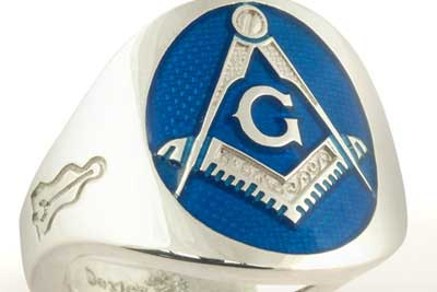 Bespoke Signet Ring Enammeled Blue Masonic Design