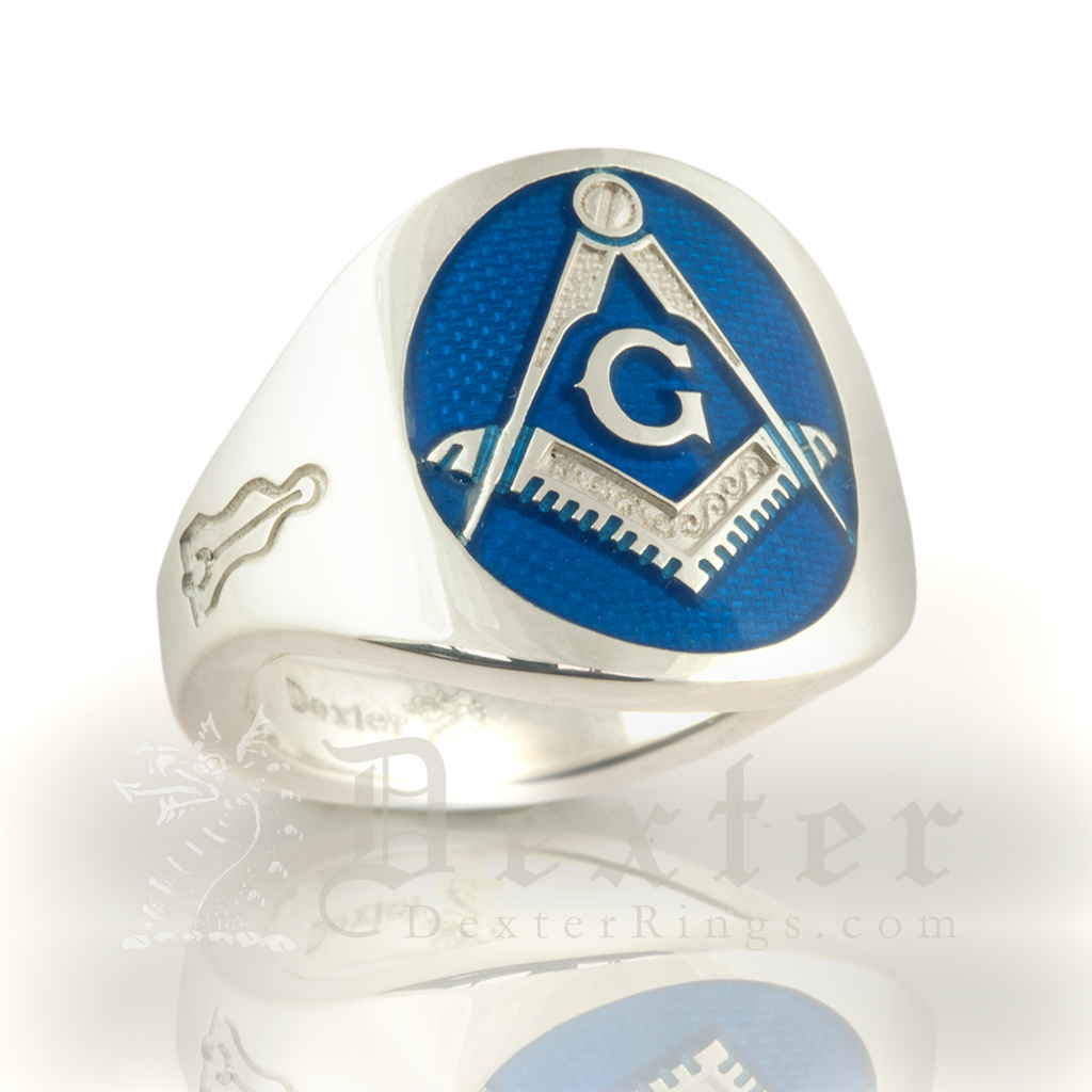 White Gold Cigar Band Masonic Ring with Blue Enamelled Face