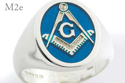 Compass and Square Signet Ring Blue Enamel