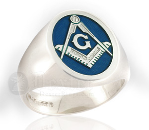 Enamelled Masonic Ring in Blue