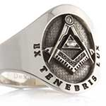 Masonic Cushion Cigar Style Ring (M2 Elevated Engraved)