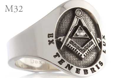 Cigar Band Ring - Ex Tenebris Lux All Seeing Eye (M32 Elevated Engraved)