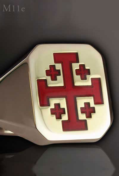 Jerusalem Cross Signet Ring - Red Enamelled