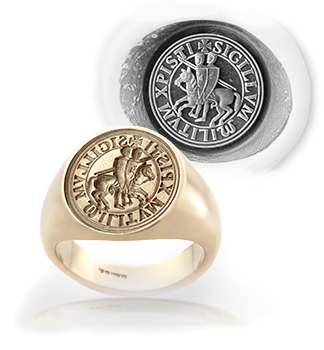 Knights Templar Ancient Seal (M4) Ring Replica From Original Seal