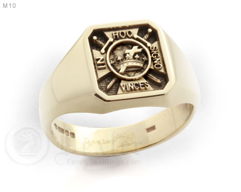 Elevated Engraved Octagonal Signet Ring Engraved With Knights Emblem Design