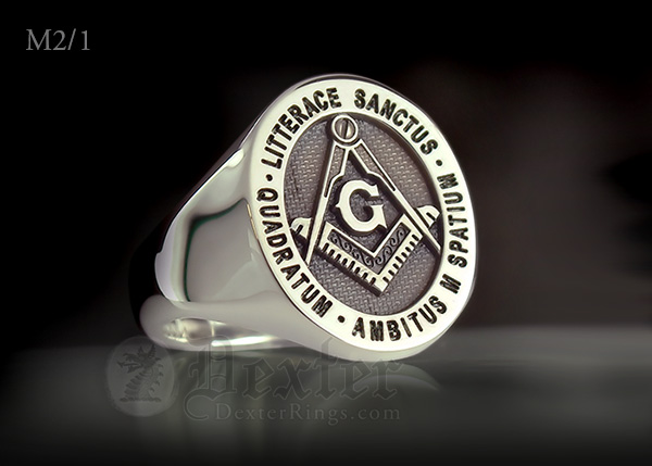 Litterace Sanctus Quadratum Engraved MAsonic Silver Signet Ring