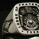 Masonic Ring Set With 3 Diamonds (MC3 Elevated Engraved)
