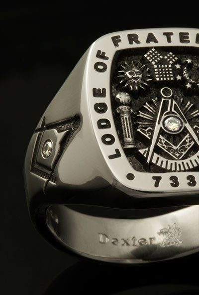Masonic Ring with Small Diamonds as part of the engraving on face and shoulders