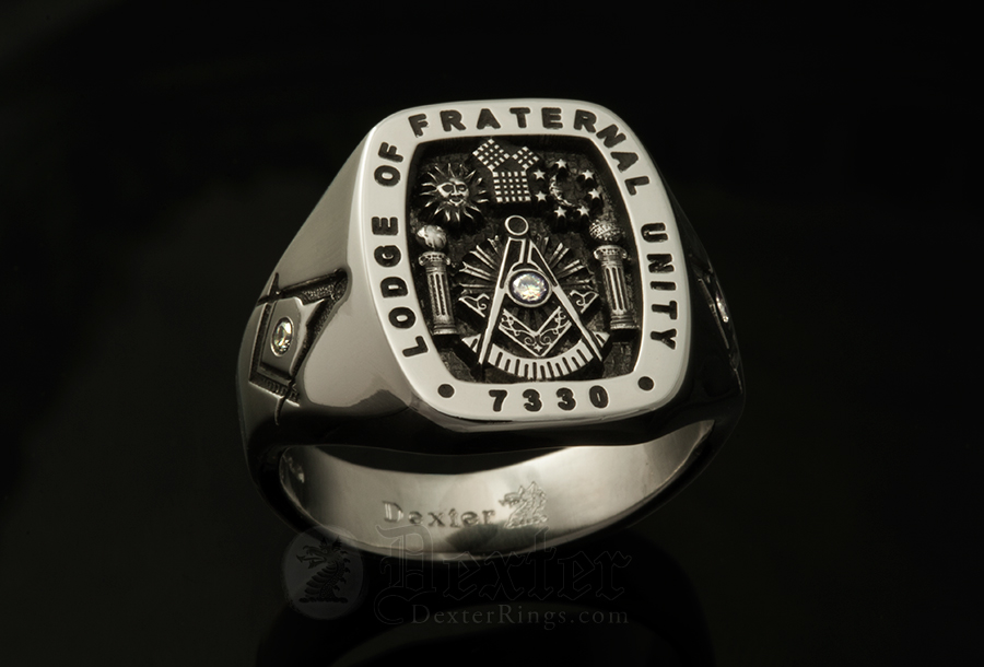 White Gold Masonic Signet Ring Set With 3 Diamonds