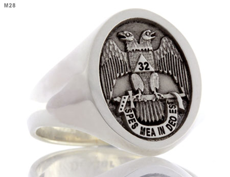 32nd Scottish Rite - Spec Mea In Deo Es emblem Ring (M28 Elevated Engraved)
