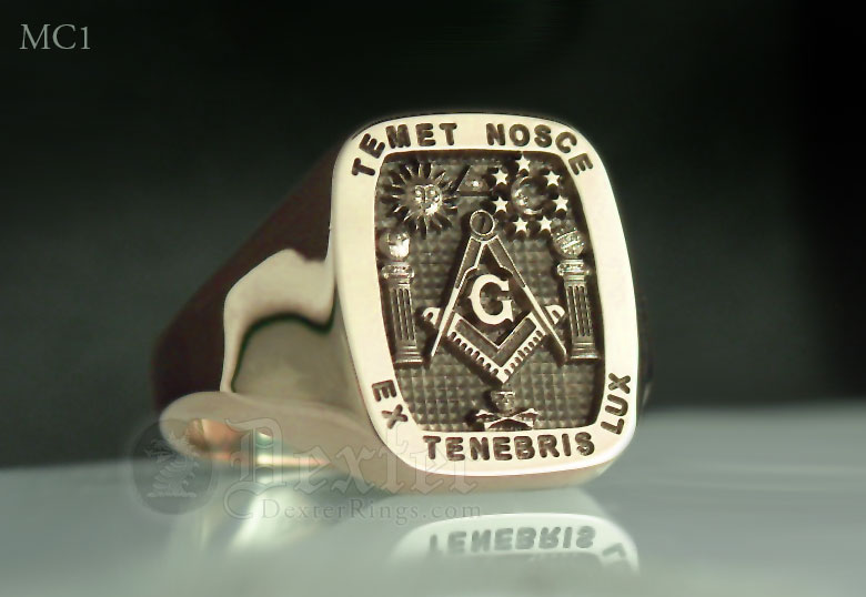 Masonic Signet Ring Including Pillars of Boaz & Jachin and Motto 'Temet Nosce'