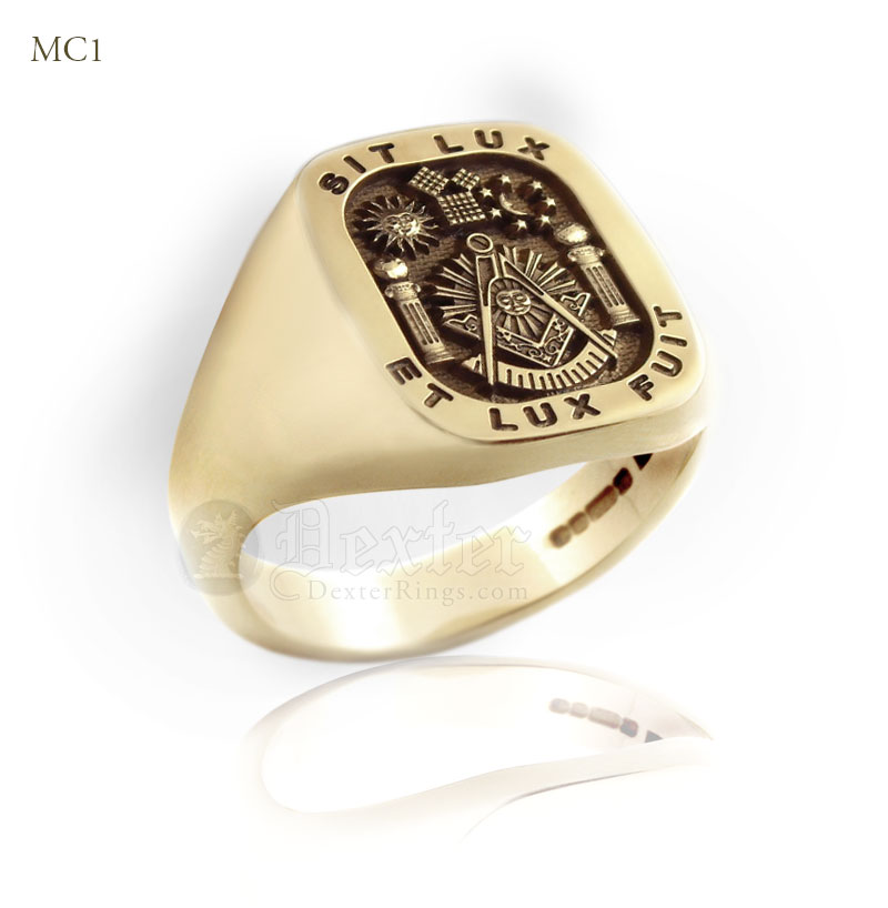 Past Master Gold Signet Ring With Motto Sit Lux - Et Lux Fuit