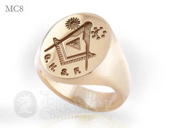 All Seeing Eye Masonic 18ct red gold Signet Ring