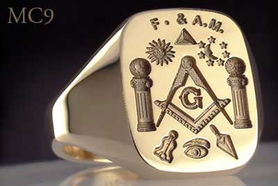 Masonic trowel and plumb ring (MC9 Traditional Show Engraving)