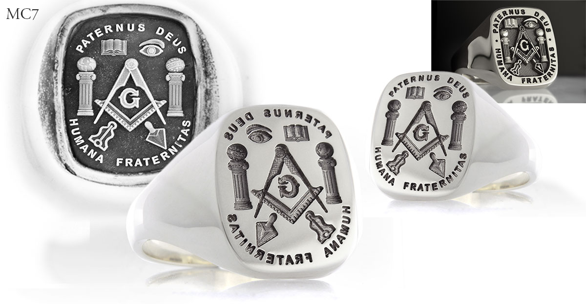 Masonic MC7 Signet Ring Design shown Seal Engraved, Show Engraved, or Relief Engraved