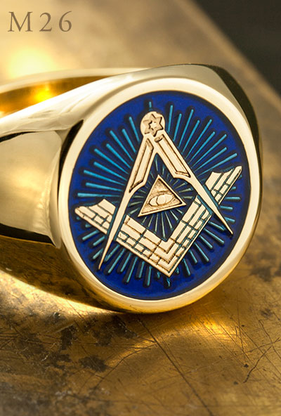 M26 Eye of Providence Signet ring eye blue enamel
