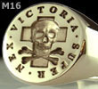 Signet Ring Engraved with Skull & Bones Ring 'Victoria Super Nex'
