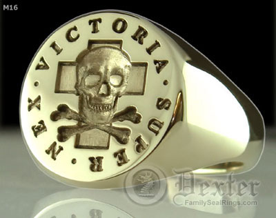 Signet Ring Engraved with Skull & Bones Ring Victoria Super Nex