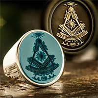 Sardonyx signet ring engraved with Client's Own Past Master Design