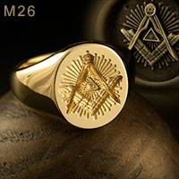 All seeing eye square & compass starburst oval ring (M26 Oval Enamelled)