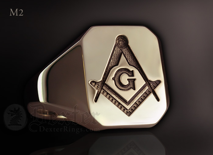 Octagonal Signet Ring Compass & Square Traditionally Engraved