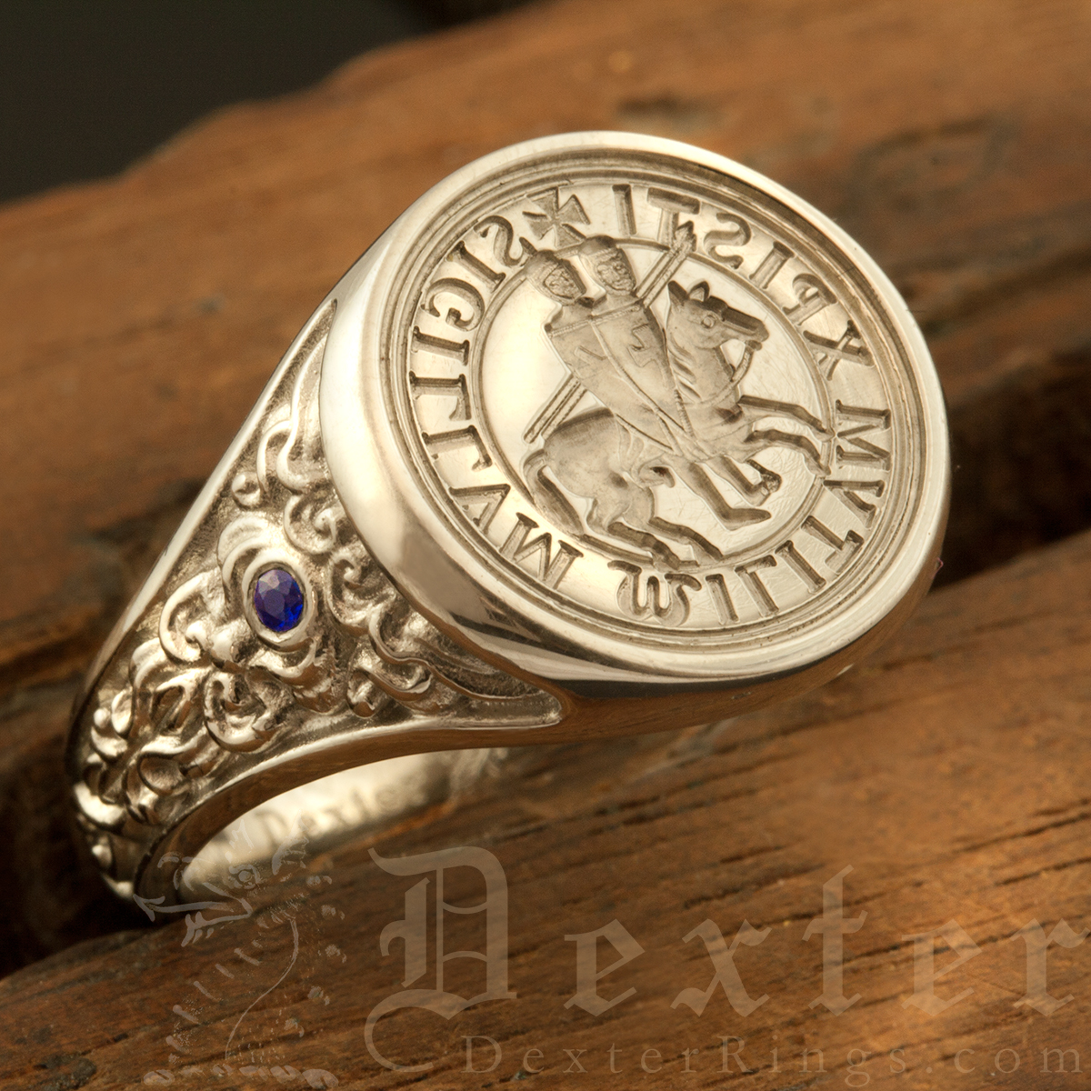 Sculptural Ancient Seal (M4) Ring Platinum Set with Sapphire