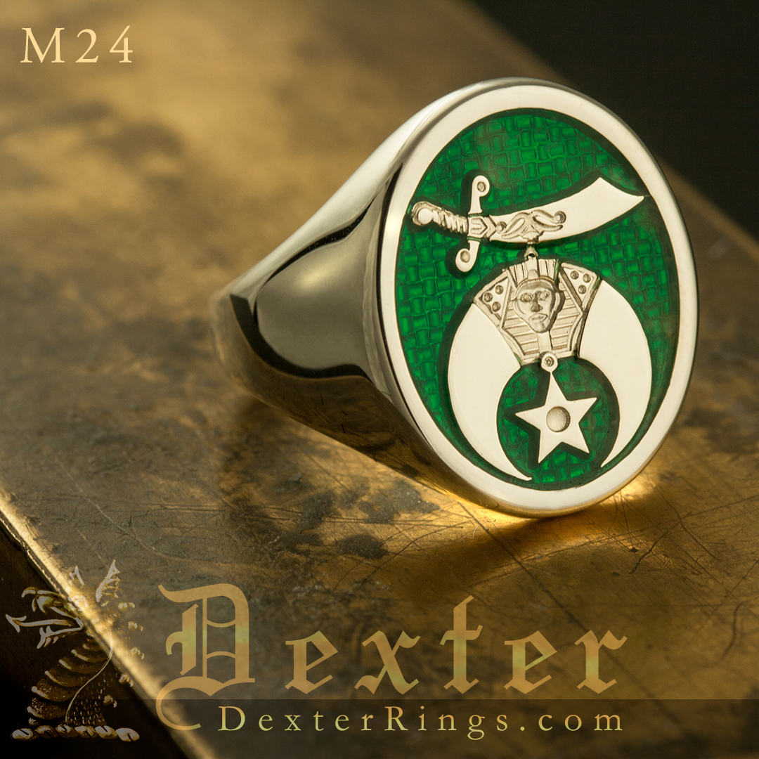 Shriners fraternity signet ring with optional enamel