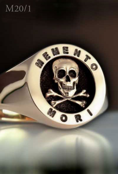 Skull & Bones Memento Mori Masonic Ring (M20 Elevated Engraved)