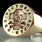 Super Nex Victoria Skull & Bones Signet Ring With Cross