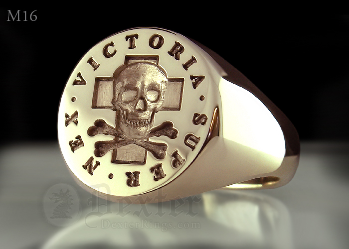 Super Nex Victoria Skull & Bones Titainium Signet Ring With Cross