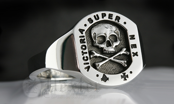 Skull & Monogram Signet Ring
