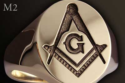 Masonic Square Compass Ring with 'G' (M2 Traditional Show Engraving)
