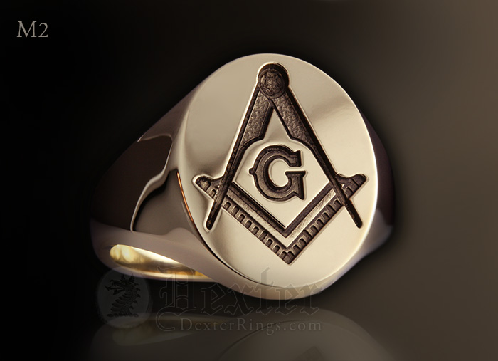 18k Masonic Square Compass Gold Signet Ring with 'G'