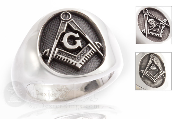 Compass and Square Silver Cigar Band Style Ring