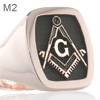 Square and Compass with 'G' Masonic Cushion Signet Ring - (M2 Elevated Engraved)