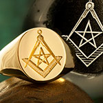 Masonic Compass & Square with Pentangle Signet Ring