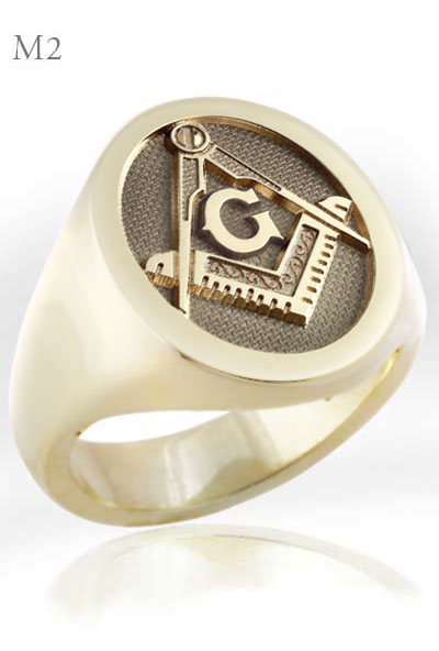 Masonic Square Compass Signet Ring with 'G'