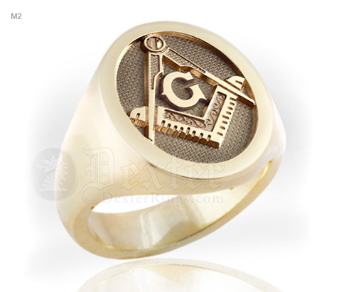 Masonic Square Compass Gold Signet Ring with 'G'