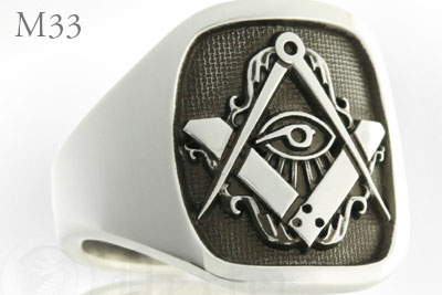 Art Nouveau Stylised Compass & Square Cigar Band Ring (M33 Elevated Engraved)
