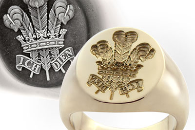 Prince of Wales Regiment Traditional Seal Ring