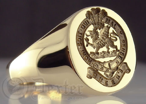 Ring Engraved With Queens Regiment Insignia