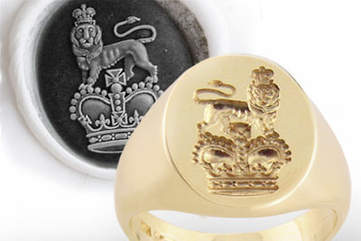 Royal Crest Seal Ring - Available With 'Seal' or 'Show' Engraving!