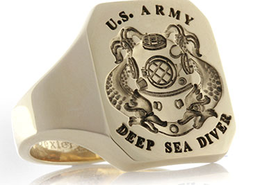 U.S. Army Diver Cushion Shape Ring / Traditional