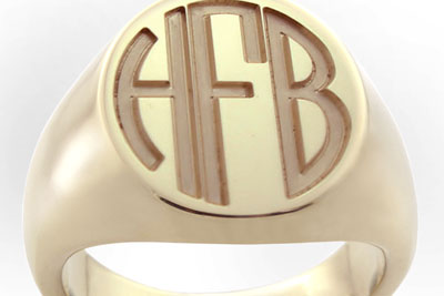 Monogramed Classic Oval Signet Ring - Block / Traditional